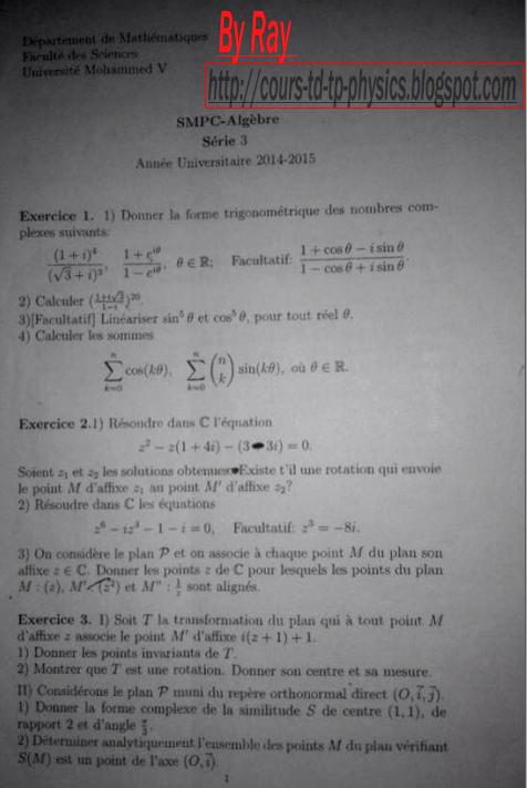 Serie 1 TD algebre s2 SMP SMC (corrige) - Cours universitaire