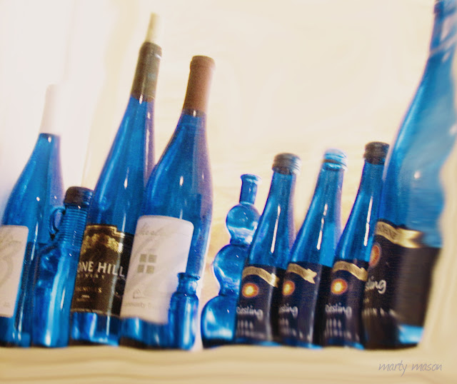 Blue bottles at Oak Point