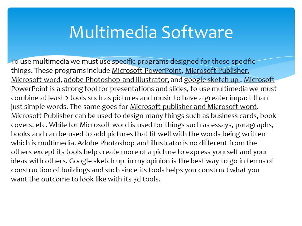 multimedia education essay This paper makes the strong claim that for multimedia to have any significant effect on education, the educational multimedia applications must be designed by the.