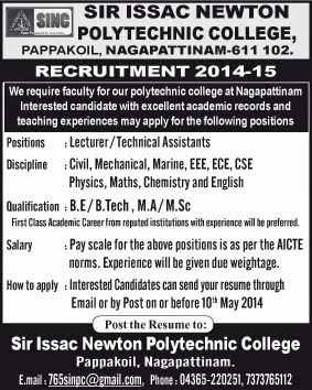 sir isaac newton polytechnic college wanted lecturer facultyplus
