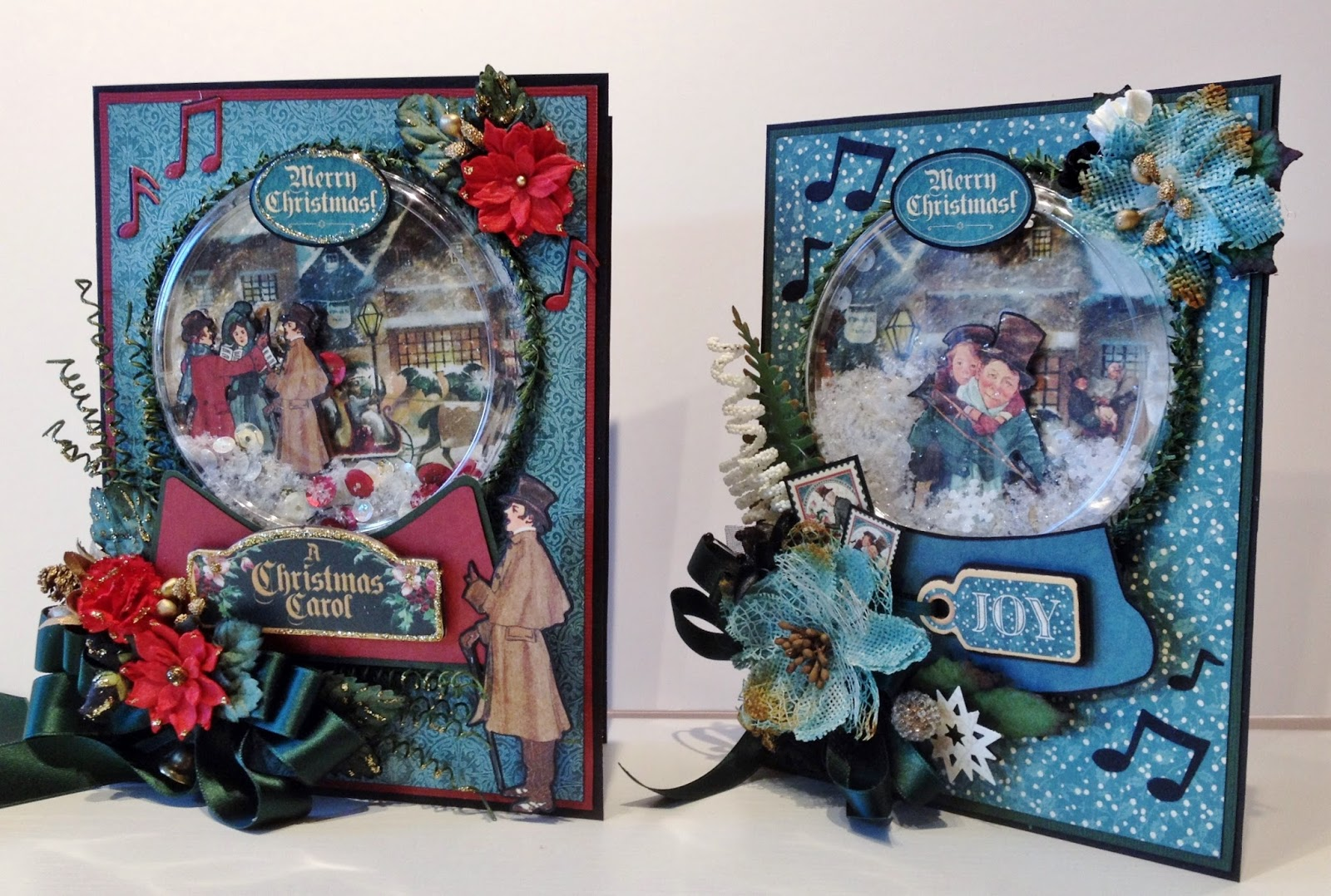 annes papercreations christmas snow globe shaker card tutorial featuring a christmas carol from graphic 45
