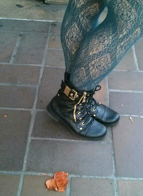 blue printed fishnets with boots