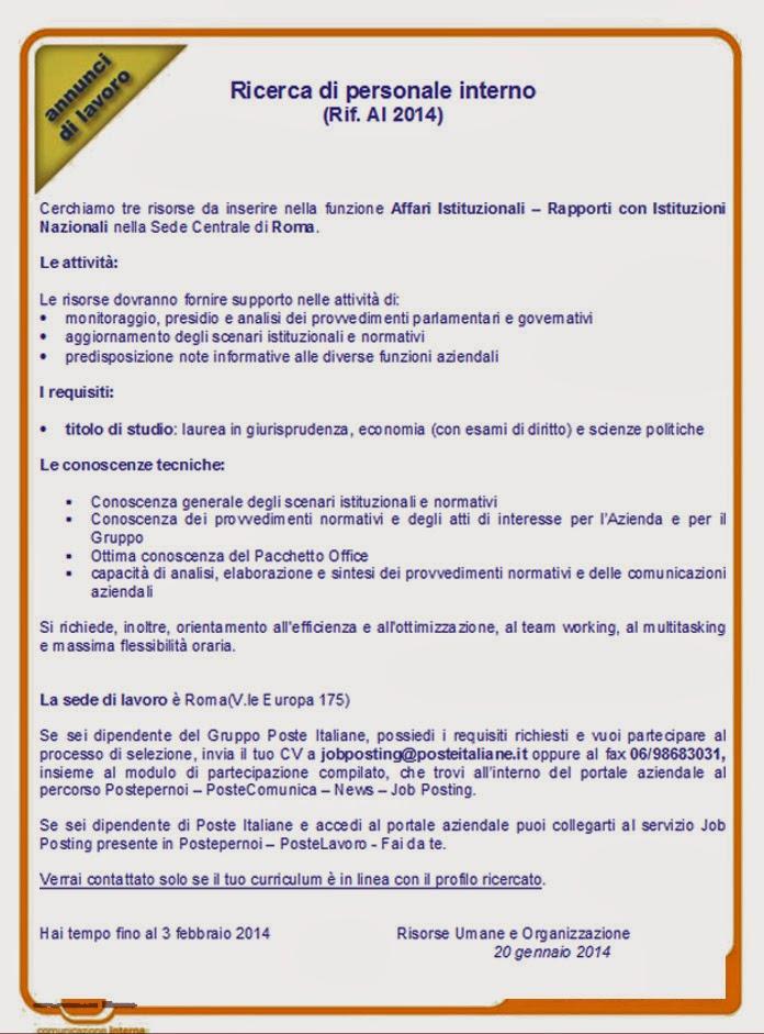 Recapito di Roma: Jobposting: Ricerca di personale interno- Rapporti con Istituzioni Nazionali ...