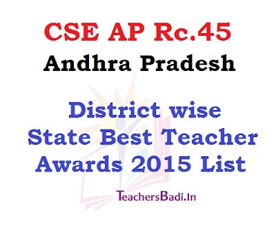 AP State Best Teacher Awards 2015 List, Best Teachers Awardees list