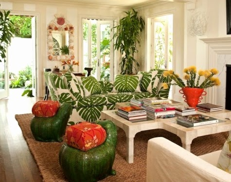 tropical living room design. A fun cozy tropical living room with a palm leaf theme by Kemble Interiors  Lush Living Tropical Room Decor Completely Coastal