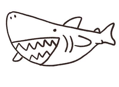 サメのイラスト モノクロ線画