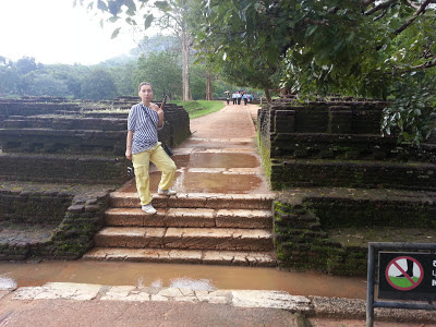Sigiriya Water Gardens Staircase steps made of white marble, surface corroded, notched, dented, ancient appearance is not good