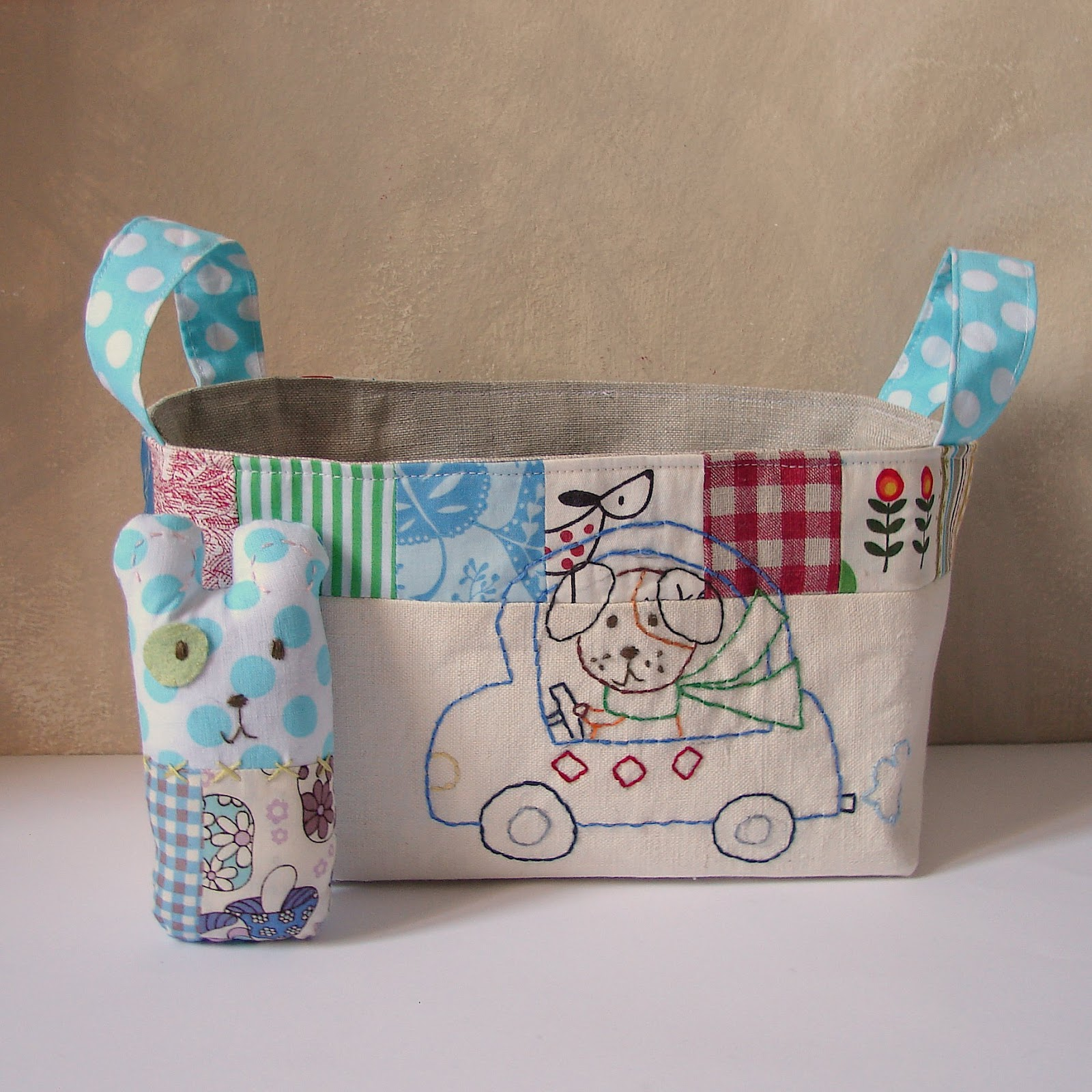 Baby Gift Creations : Roxy creations storage basket patchwork and softie rattle