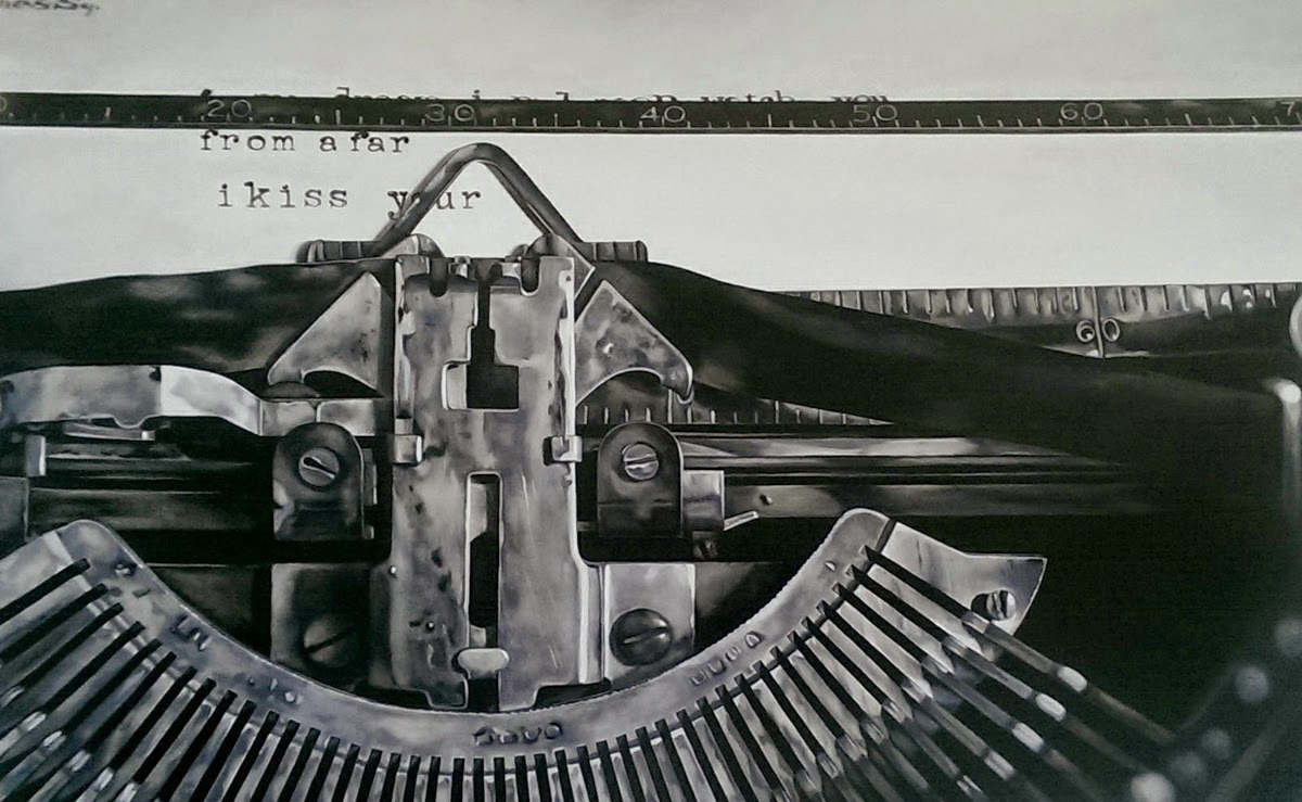 07-The-Writer-Kate-Brinkworth-Black-&-White-Photo-Real-Paintings-&-Drawings-www-designstack-co