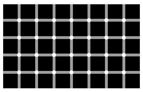 Magic black dot optical illusion