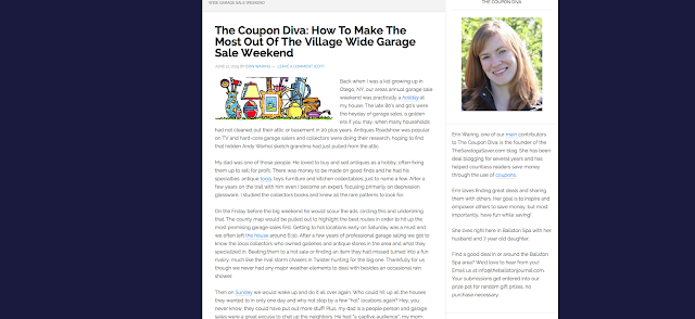 http://theballstonjournal.com/2015/06/12/the-coupon-diva-how-to-make-the-most-out-of-the-village-wide-garage-sale-weekend/