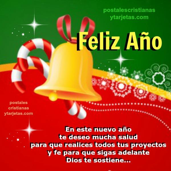 Frases de feliz año, Tarjeta con Buenos Deseos de Feliz Año Nuevo. Imagen cristiana con mensaje cristiano de fin de año. Feliz 2016 por Mery Bracho.