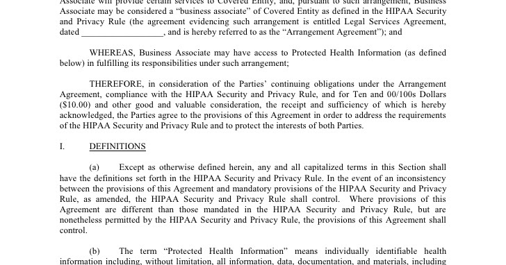 Health Insurance Portability And Accountability Act Hipaa – Business Associate Agreement Template