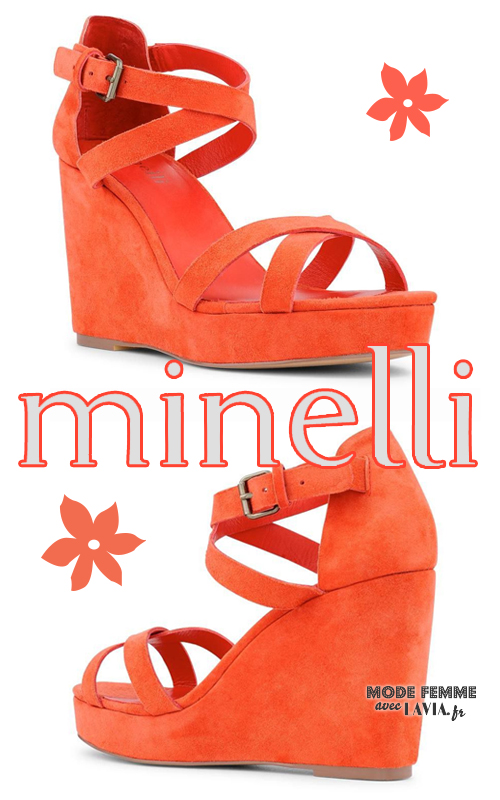 Sandales compensées orange Minelli