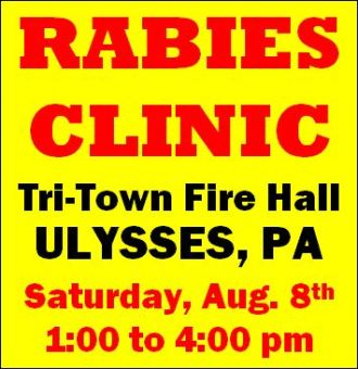 8-8 Rabies Clinic, $5. per animal