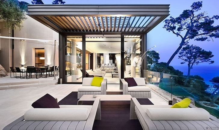 Terrace of Modern Bayview Villa In French Riviera