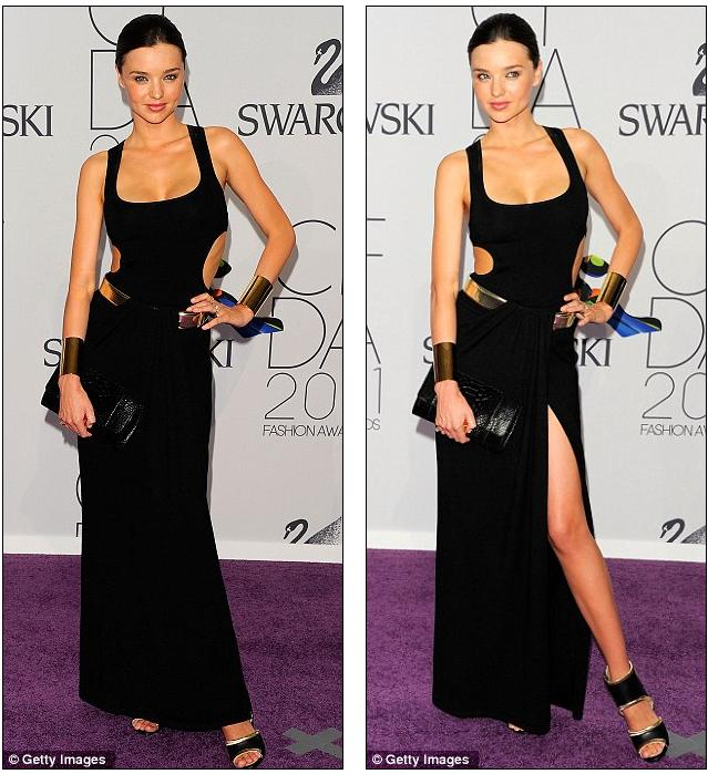 How to wear black: Miranda Kerr effortlessly outshines the A-listers in a sexy dress, slit to the thigh at CFDA gala