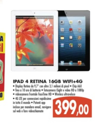 Miglior prezzo per il tablet iPad 4 retina 4G da Emisfero per maggio