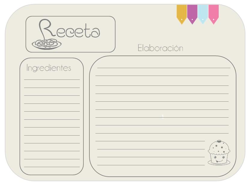 Imprimibles para recetas proyecto pastelito - Libros de cocina originales ...