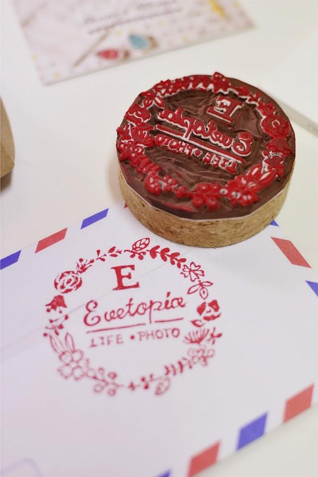 evetopia logo handmade rubber stamp