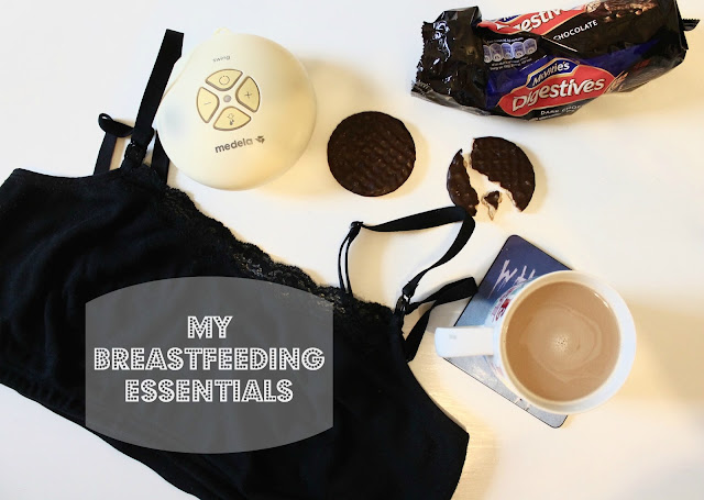my breastfeeding essentials. Pictured black nursing bra, medela swing, chocolate digestives and a cup of coffee