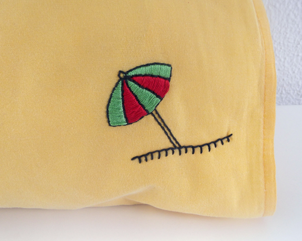 embroidery, pillowcase, project, stitching, tutorial, design, umbrella