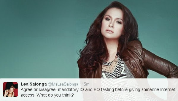Lea Salonga considers mandatory IQ/EQ Test before someone be given Internet access