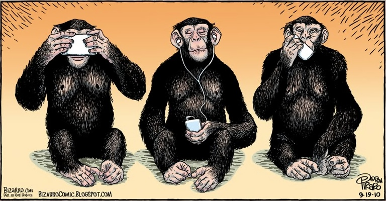 The three 'wise' iPhone monkeys