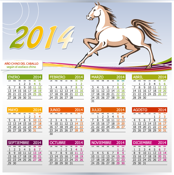 calendario en español 2014 Año del caballo - Vector