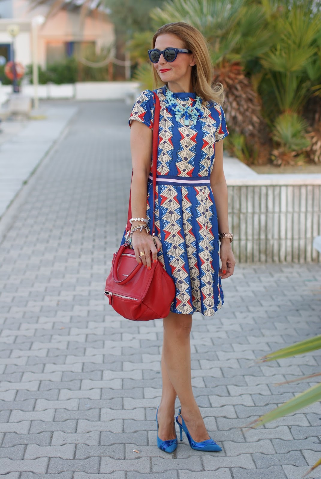 argyle print dress and givenchy red pandora bag on Fashion and Cookies fashion blog, fashion blogger style