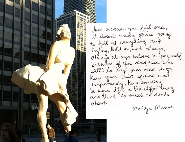 Marilyn Monroe, quote, statue, Chicago
