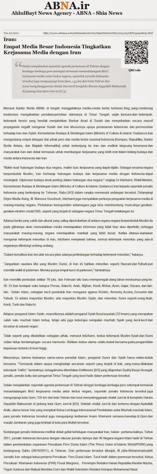Media Indonesia Kerjasama Syiah Iran