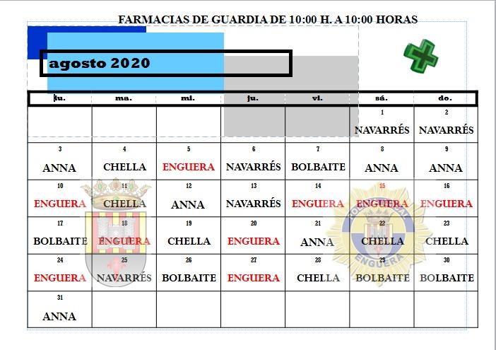 FARMACIAS DE GUARDIA MES DE AGOSTO 2020