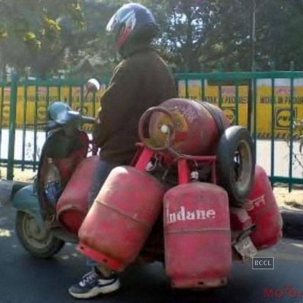 Man Drive Scooter With Cylinders Funny Desi People In India
