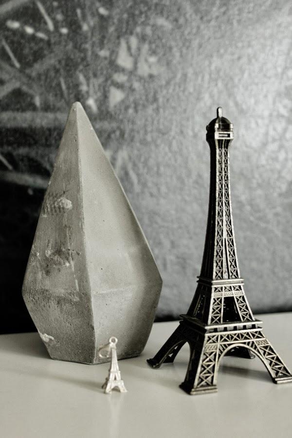 eiffeltornet i inredningen, diamant av betong, litet eiffeltorn, inredningsprylar