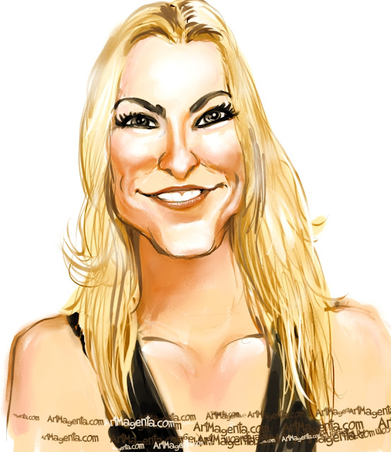 Lindsey Vonn aricature cartoon. Portrait drawing by caricaturist Artmagenta