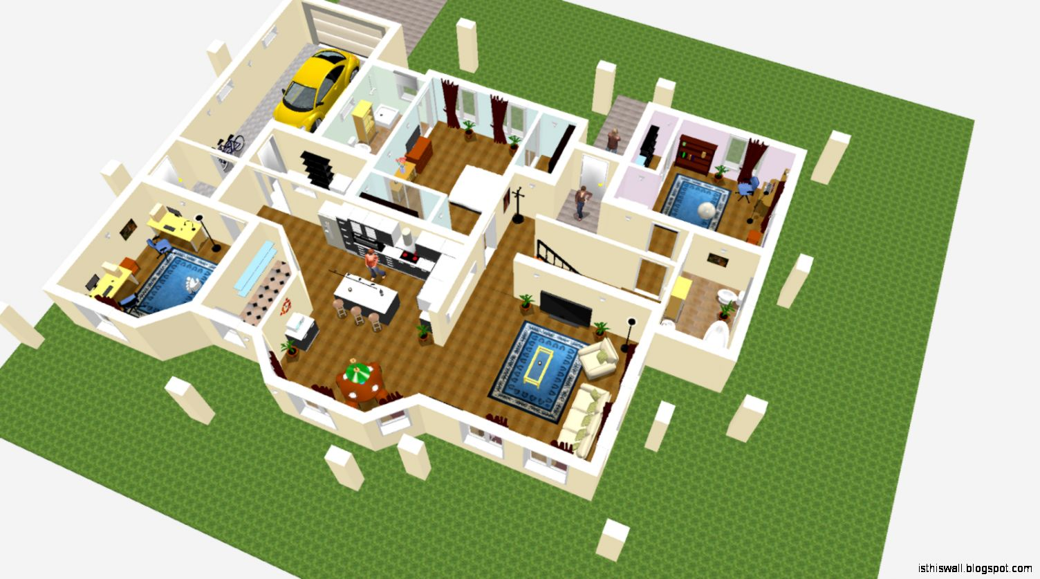 Sweet home design 3d this wallpapers for How to design 3d house plans