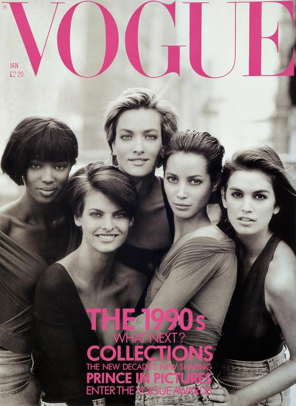 vogue uk january 1990 cover supermodels