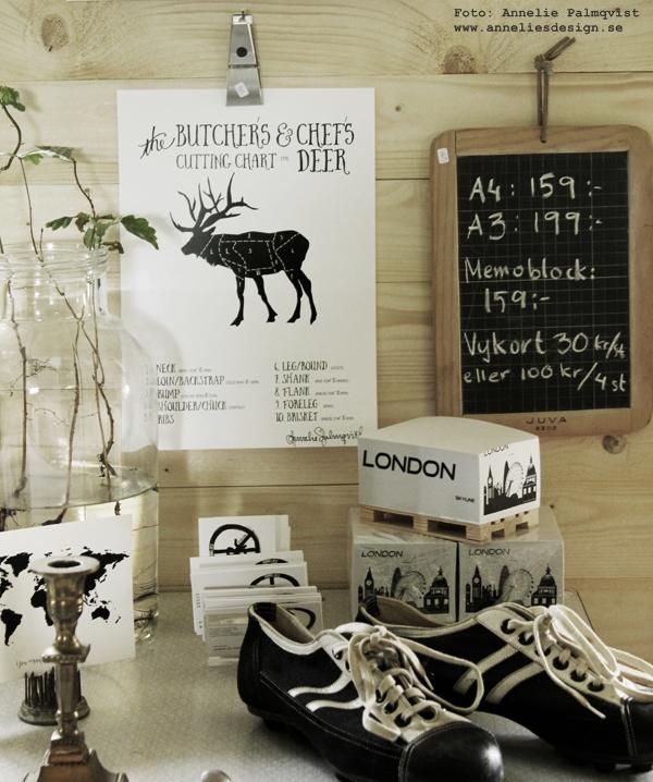 memoblock med london, block på mini lastpall, lastpallar i miniatyr, världskarta på vykort, konsttryck, tavlor, svartvit, tavla, styckningsdetaljer, styckningsschema, älg, hjort, fjädrar, posters, poster, print, prints, på väggen, upphängning av tavlor, oak, ekollon, gamla fotbollsskor, svart och vitt, svartvit, röd stol, susan cedgård, sik, vykort, anneliesdesign, annelies design & interior, inredning, inredningsblogg, varberg,