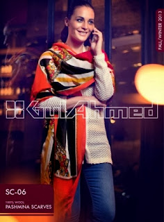 Gul Ahmed Winter Pashmina Scarves for Girls