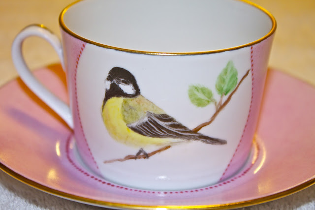 china, porcelain, tea cup, hand painted, birds, great tit