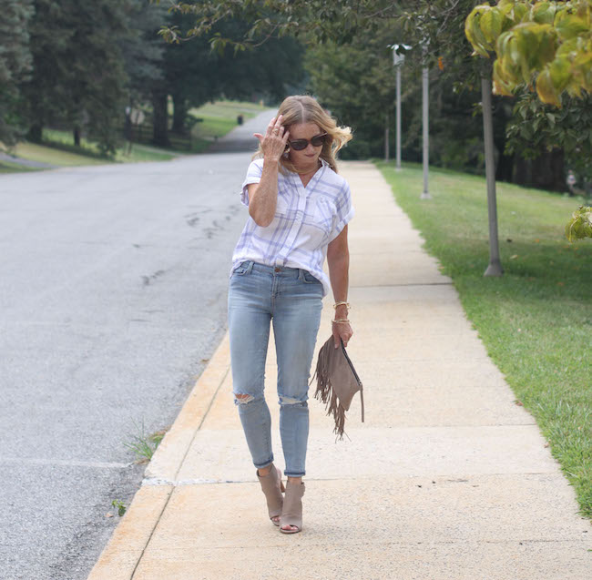 rails shirt, j brand jeans, vince booties, mango clutch