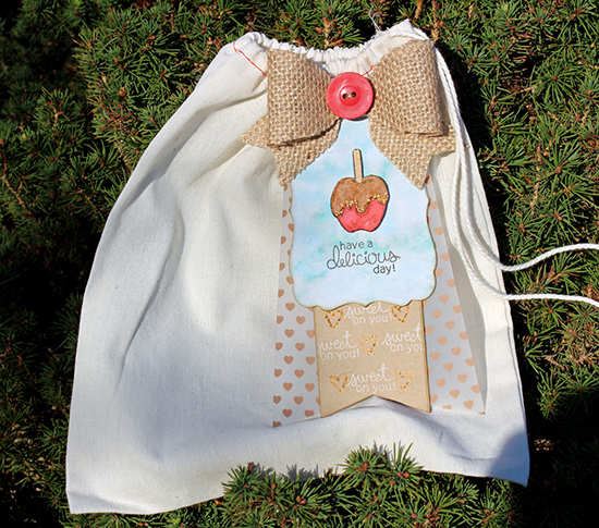 Caramel apple treat bag by Larissa Heskett for Newton's Nook Designs | Apple Delights Stamp Set