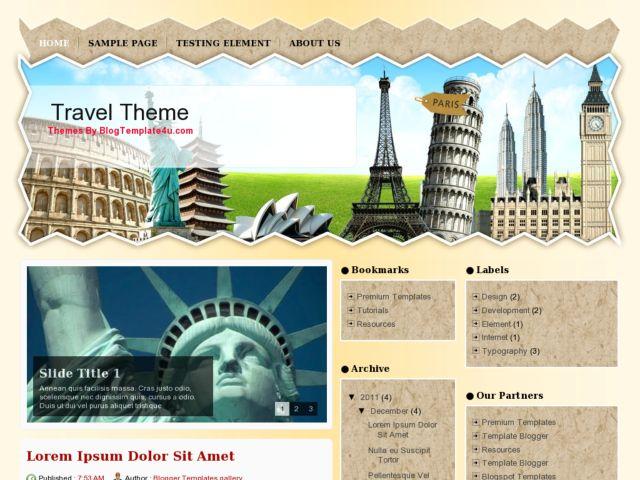 New Travel Theme Blogger Template