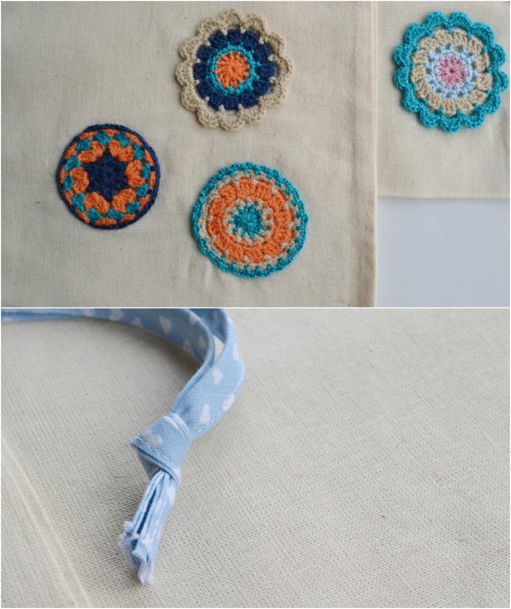 handmade crochet mandalas tote drawstring bag christmas gifts