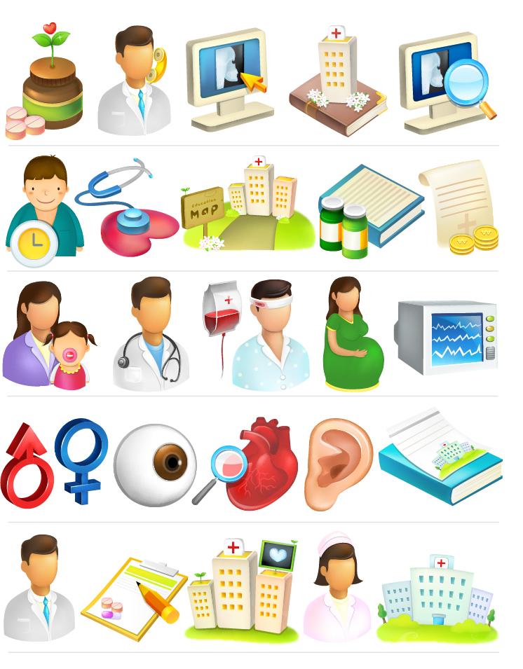 病院をテーマにしたアイコン集 Medical hospital icon vector material イラスト素材