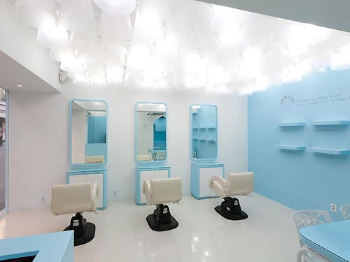 Elegant White Blue Salon Interior Lighting Design Ideas