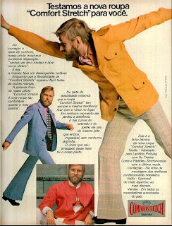 propaganda Confort Stretch - 1973. anos 70. moda anos 70; propaganda anos 70; história da década de 70; reclames anos 70; brazil in the 70s; Oswaldo Hernandez