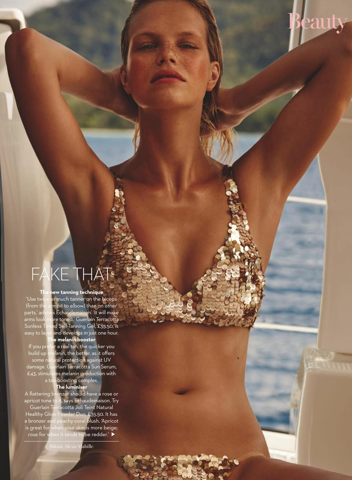 Nadine Leopold shows off swim looks for Marie Claire UK July 2015