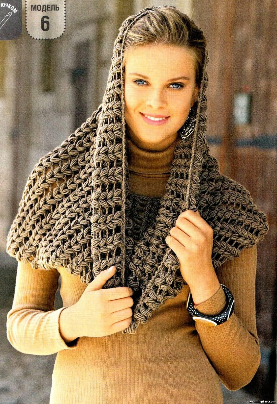 Как связать женский шарф снуд спицами для начинающих 7